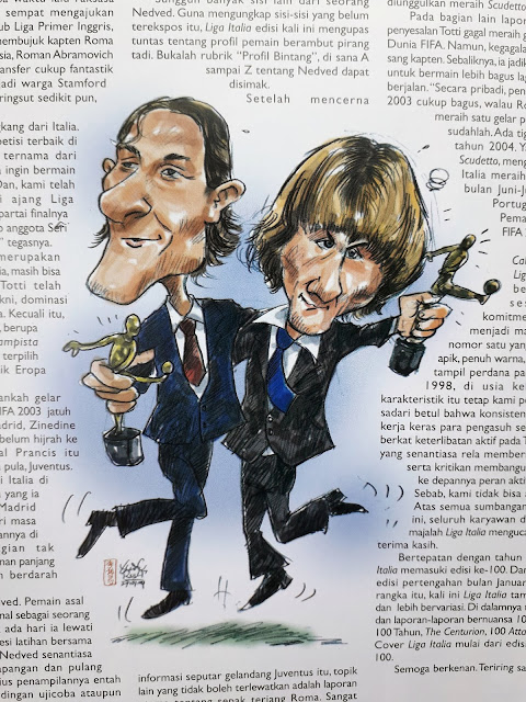 CARICATURE OF FRANCESCO TOTTI AND PAVEL NEDVED