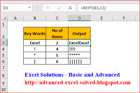How to Use REPT function to repeat texts
