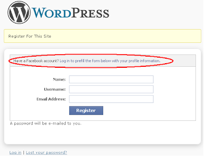 WORDPRESS - Register for this Site page says Have-a-Facebook-account? Log-in-to-prefill-the-form-below-with-your-profile-information