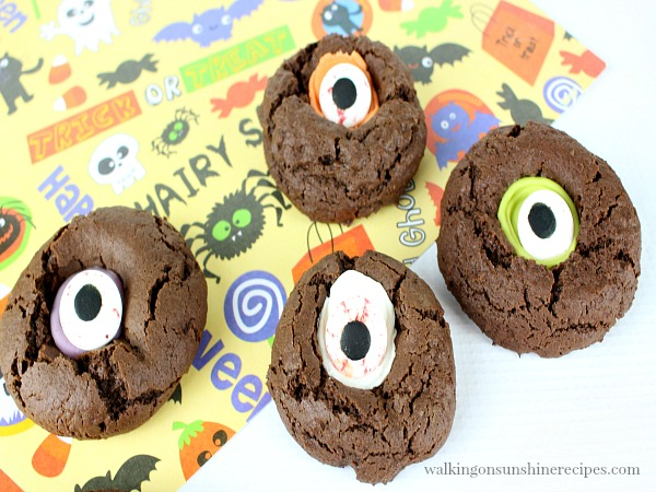 Chocolate Thumbprint Cookies with Googly Scary Eyes