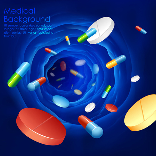 Blue medical herbal creative background vector Free vector