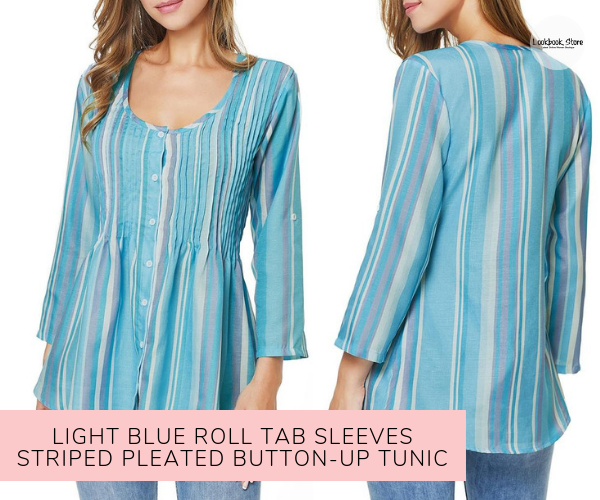 Light Blue Roll Tab Sleeves Striped Pleated Button-Up Tunic - Lookbook Store