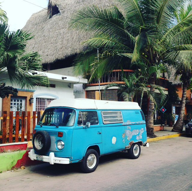 hippie camper van in San Pancho, Mexico
