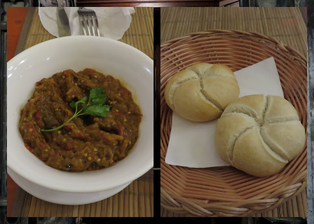 Eggplant dip and kaiser rolls in Bucharest, Romania