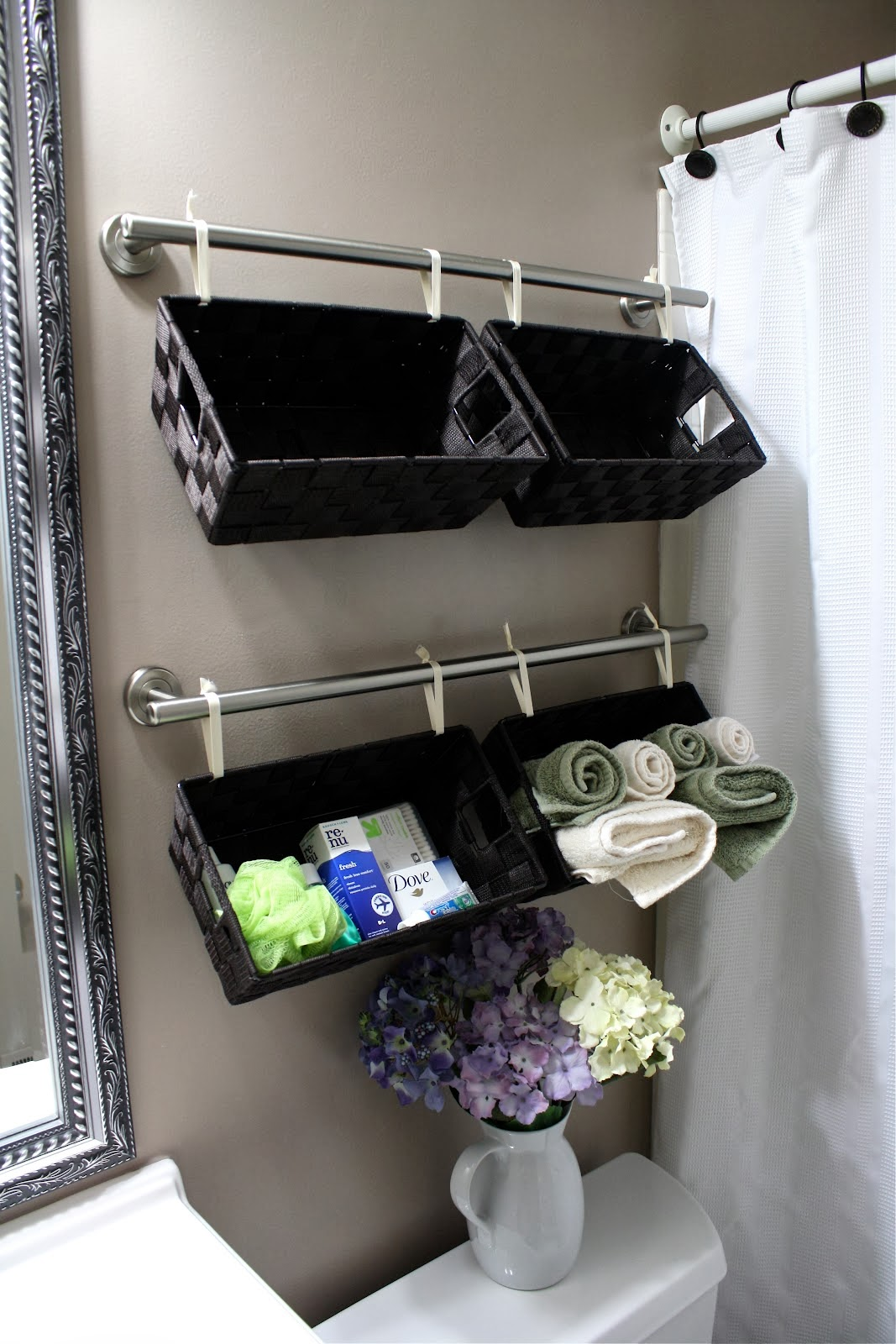 DIY Wall Full of Baskets Bathroom Storage Idea