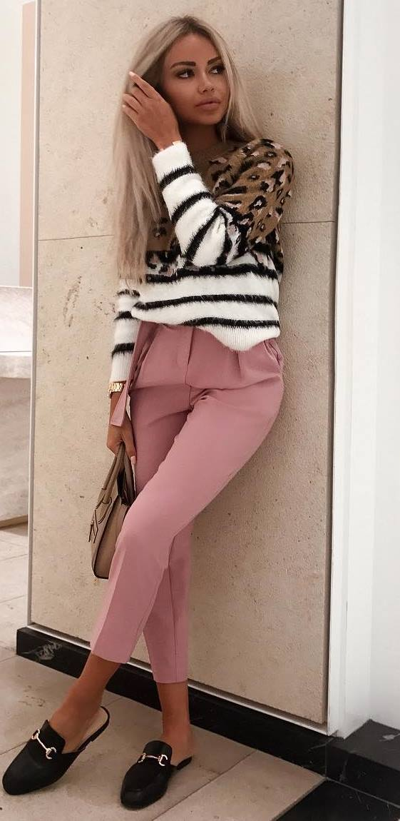 casual style obsession / stropped sweater + blush pants + bag + loafers