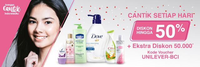 BliBli - Promo Diskon Produk Unilever s.d 50% Cantik Setiap Hari + Ekstra 50 Ribu