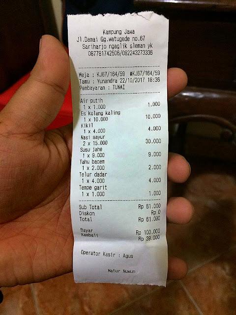 harga makanan di kampung jawa jogja