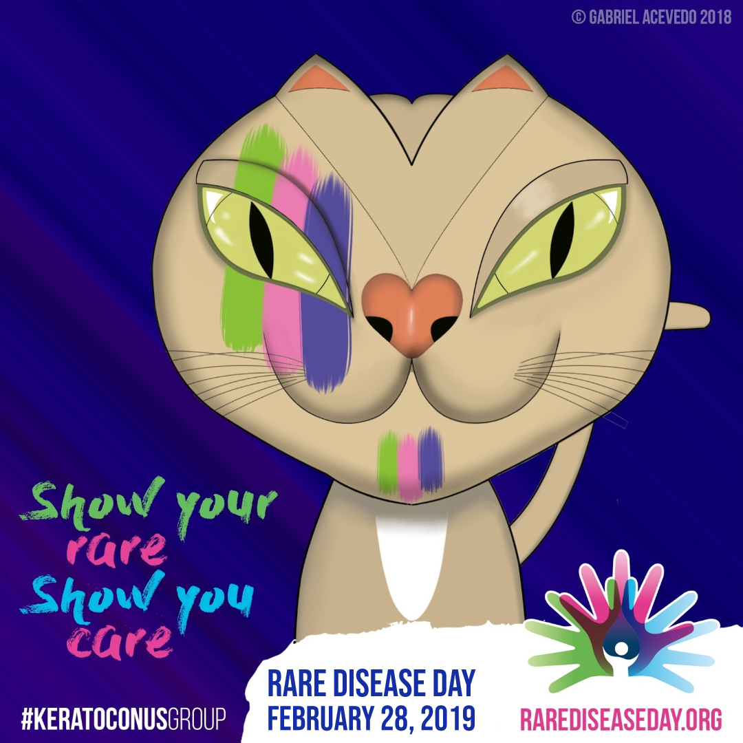 Our community's mascot, Keratocat, has joined the #ShowYourRare campaign and painted his face with the Rare Disease Day logo colors.