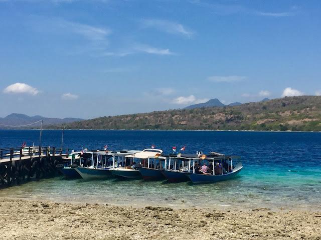Boats moored by Menjangan Island, Bali, Indonesia