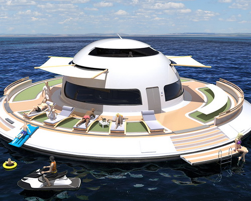 www.Tinuku.com Houseboat named Unidentified Floating Object (UFO) powered electrically by Italian company Jet Capsule