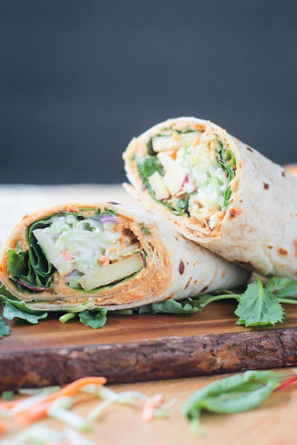 Broccoli Slaw Veggie Wrap with Spicy Hummus