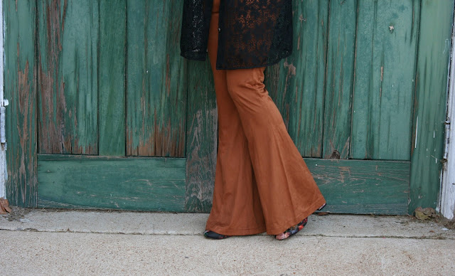 cognac faux suede bell bottom pants