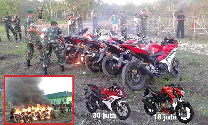 Motor-Motor Mewah Berharga Ratusan Juta Rupiah HABIS Dibakar TNI. Ada Apa  Ya   6f3118bb63