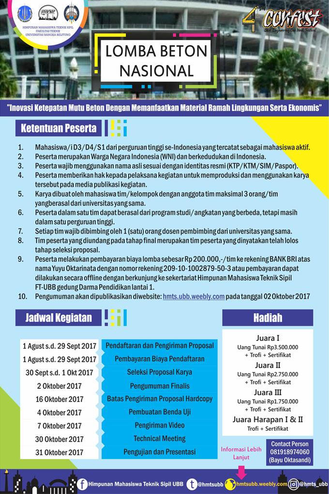 Lomba Beton Nasional 4th Confest | Univ. Bangka Belitung | Mahasiswa