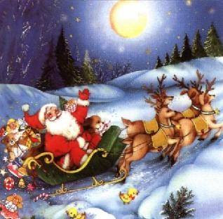 santa claus on his reindeer going on snow christmas hd hq wallpaper