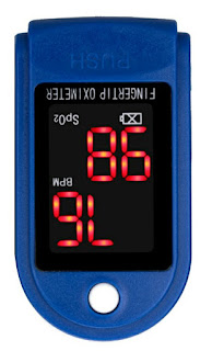 upside down pulse oximeter with reading of 98 easily mistaken for 86