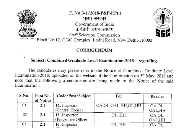 [Notice] Corrigendum - SSC CGL 2018 in PDF - SSC Officer