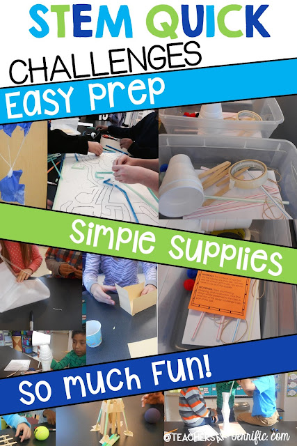 STEM Challenge: This is a Quick Challenge- which simply means easy materials, easy prep, and a fast challenge. It's one you can throw together on the spur of the moment or leave with a substitute. Check this blog post for more!
