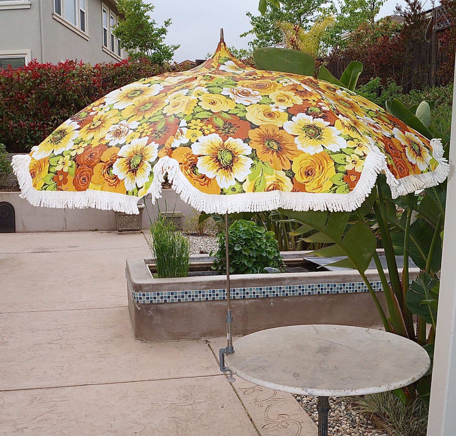 60s 70s Mid Century Fl Patio Umbrella