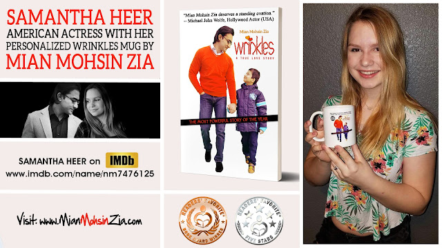 Samantha Heer with her Personalized Wrinkles Mug by Mian Mohsin Zia