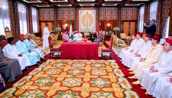President Buhari And King Mohammed VI Of Morocco In A Bilateral Meeting Witnessed The Joint Declaration Of Nigeria And Morocco On The Proposed Gas Pipelines To Connect Nigerians Gas Resources To West African Countries