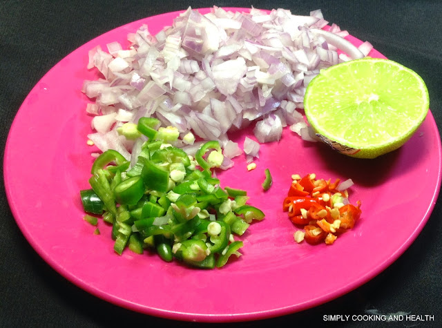 Onion,green chili,red chili and lime juice