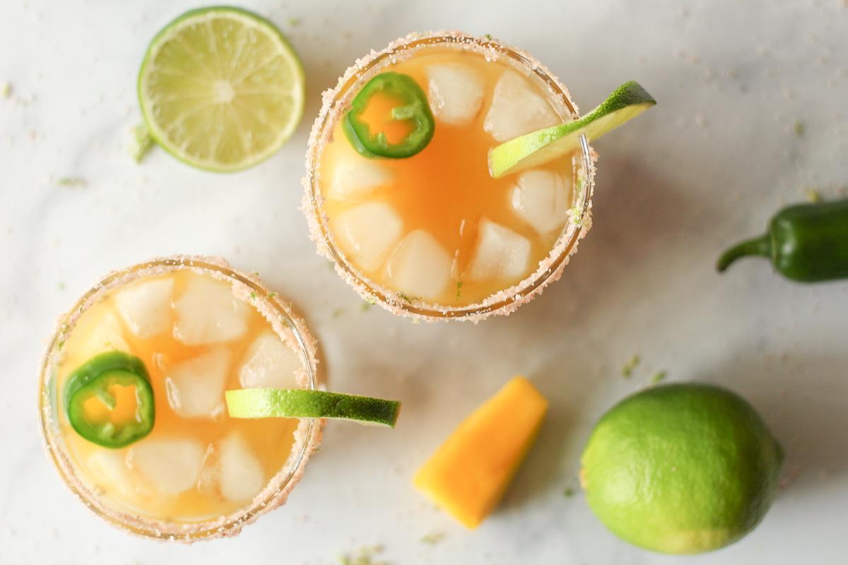 Sweet and Spicy Mango Jalapeno Margaritas