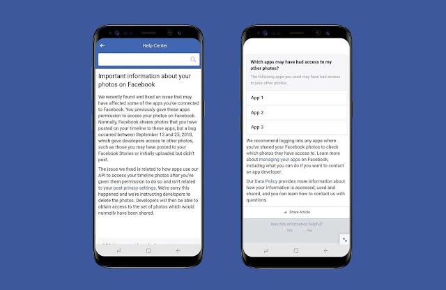 أعلنت فيسبوك عن خلل أتاح لمطوري التطبيقات إمكانية الوصول أكثر من اللازم إلى الصور