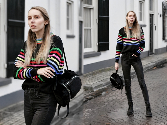 Make people stare zaful outfit trui regenboog strepen fluffy rugzak mini backpack stradivarius nederlandse fashion blogger