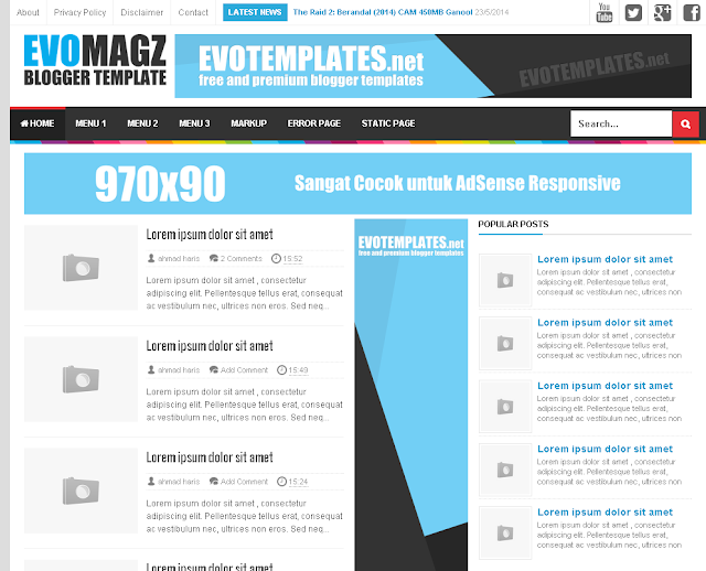 Template Modifikasi SEO Friendly Evomagz dan Fastestmagz