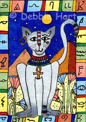 International Cat Day: Ancient Egyptian Cat with Ankh, Pyramids & Hieroglyphs by Debbie Hart | MyCatSylvia.com