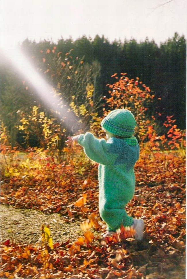 Little girl in knitted autumn suit surrounded by the brilliant coloured leaves of fall. She appears to be catching a sunbeam.