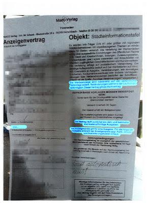 Scan: Anzeigenvertrag | Maco Verlag M. Schunk