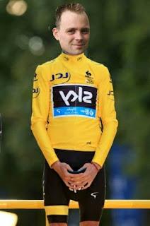 Bennie Kiers in de gele trui na het winnen van de Tourpoule 2016