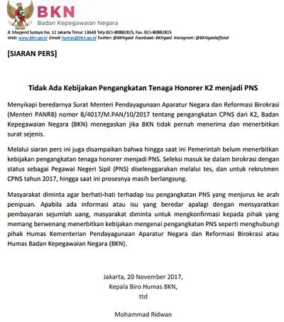 Benarkah Terdapat Surat Menpan-RB tentang Pengangkatan CPNS dari K2?