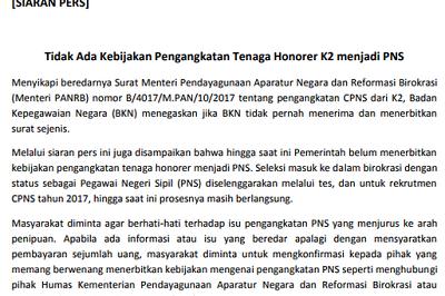 Benarkah Terdapat Surat Menpan-RB tentang Pengangkatan CPNS dari K2 ?