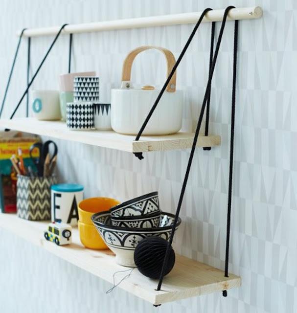 Wandregal zum Selbermachen: 2 Bretter, ein Rundstab und Nylonband – fertig ist das Wandregal für Küche und Bad