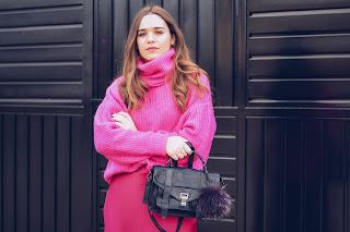 Satin pink skirt