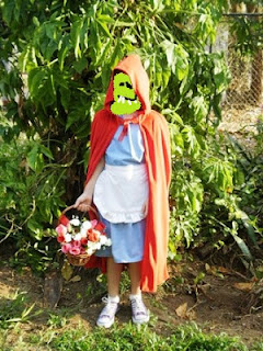 The monster wearing a K-Made Red Riding Hood costume