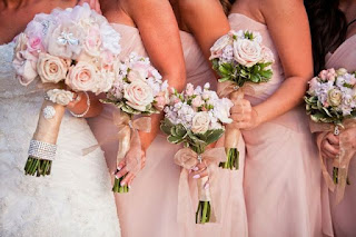 Stunning Bridesmaid Pink Rose Wedding Bouquets