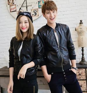 Gambar Jaket Kulit Pasangan Model Bomber Jacket