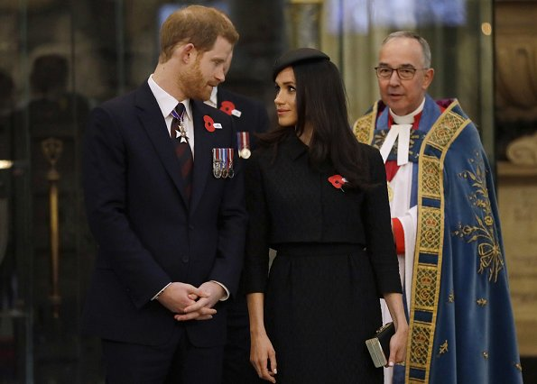 Prince William, Prince Harry and Meghan Markle attended an service of commemoration and thanksgiving to mark Anzac Day in Westminster Abbey