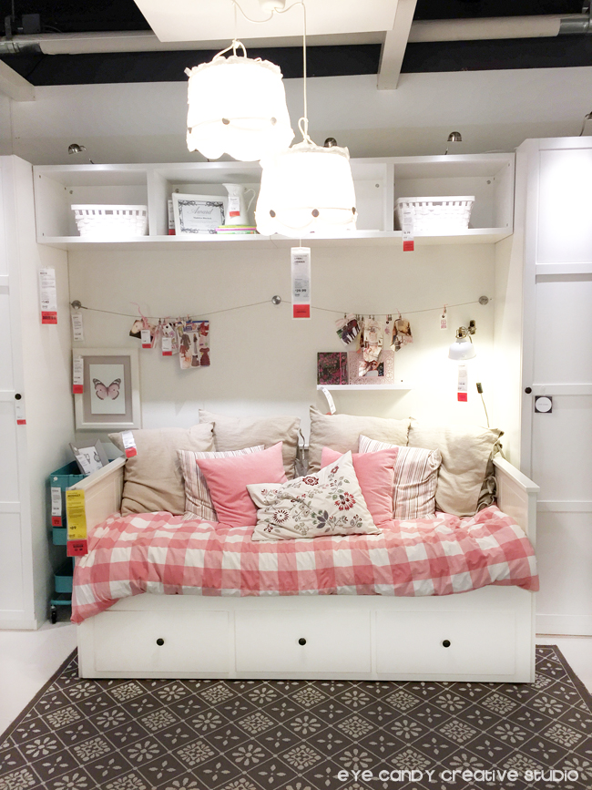 IKEA kids rooms, white shelves, gingham print bedding, girls bedroom ideas