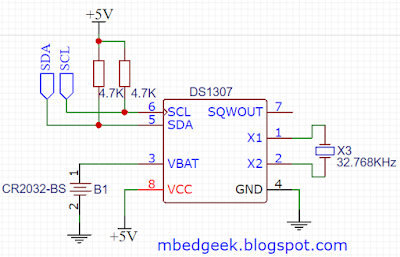 DS1307 typical connection Schematic