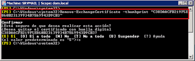 "Remove-ExchangeCertificate -thumbprint ""Thumbprint_del_viejo_certificado"""