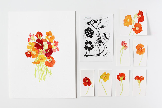 watercolor nasturtiums, lino cut nasturtiums, nasturtium art, Anne Butera, My Giant Strawberry
