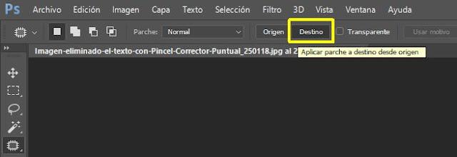 Seleccionar Destino en Herramienta Parche Photoshop