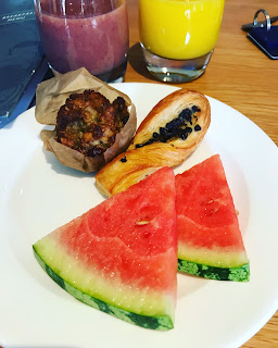plate of fresh watermelon muffin and pastry in cardrona hotel