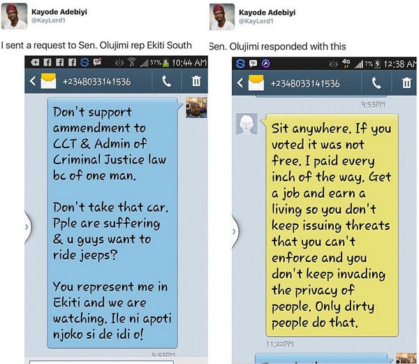 """Senator Abiodun Olujimi Blasts Constituent Who Sent Her SMS: """"You Can't Tell Me What To Do"""""""